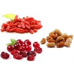Mix 3 fruits : goji bio, cramberries bio, mulberries bio  100 grammes